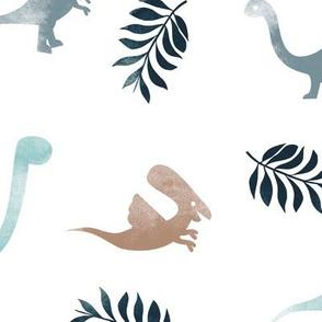 Watercolor dinosaur friends garden palm leaf white spring summer kids  blue JUMBO