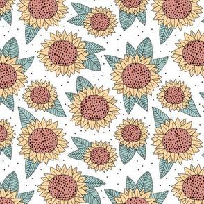 Sunflower fields boho flower garden summer yellow sage green stone red