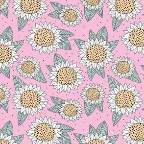 Sunflower fields boho flower garden summer yellow pink mint green girls