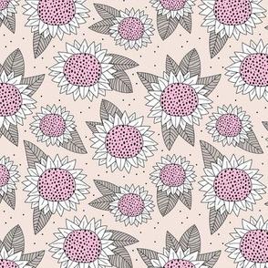 Sunflower fields boho flower garden summer yellow pale pink neutral gray girls