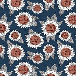 Sunflower fields boho flower garden summer navy blue rist gray neutral