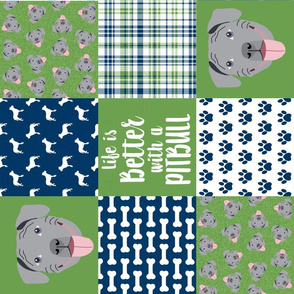 grey pitbull cheater quilt fabric - dog quilt, pit bull quilt fabric - green and navy