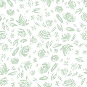 Mint Watercolor Flowers