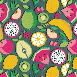 Small scale // Paper cut geo fruits // green background