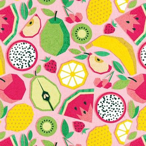 Small scale // Paper cut geo fruits // pink background