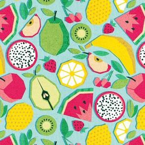 Small scale // Paper cut geo fruits // aqua background