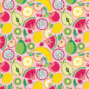 Tiny scale // Paper cut geo fruits // pink background
