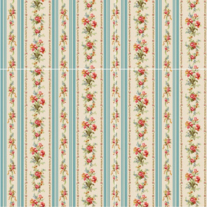 Belvedere Floral Stripe ~ Mask Template 10 x 12 inches x 12 Cut and Sew