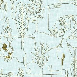Tree-line (duck egg blue) MED