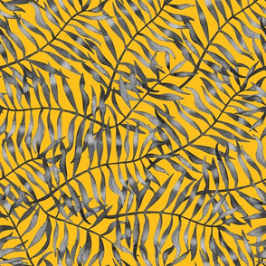 Black and Tropical Leaves on Yellow