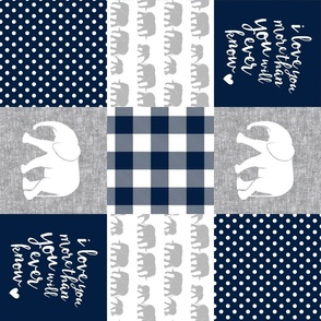 Elephant wholecloth - I love you more than you will ever know - patchwork - plaid -  navy (90) V2