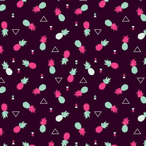 Geometric pineapple fruit hot tropical summer print in pink XS