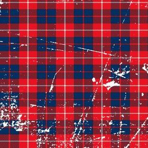 Red navy plaid grunge