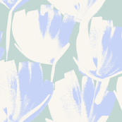 Jumbo Flowers light yellow tan and cornflower blue on seafoam green