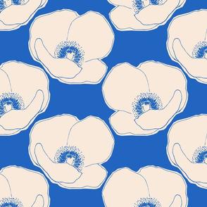 Light tan Poppy on blue medium scale