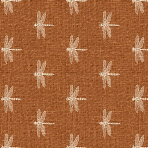 Rotated // Bone Dragonflies on Woven Copper