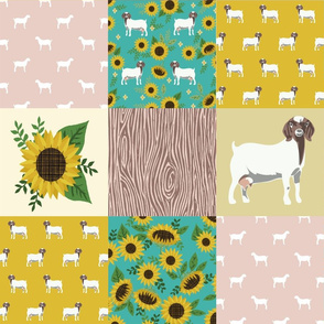 boer goat sunflower quilt fabric - cheater quilt fabric, farm quilt fabric