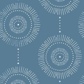 Glimmer - Boho Geometric Medallion Watercolor Blue and White Regular Scale
