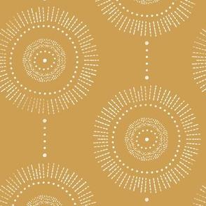 Glimmer - Boho Geometric Medallion Regular Scale Watercolor Mustard Yellow White