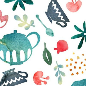 Teatime cutouts - blue spring - large scale