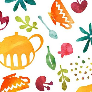 Teatime cutouts - sunny summer - large scale