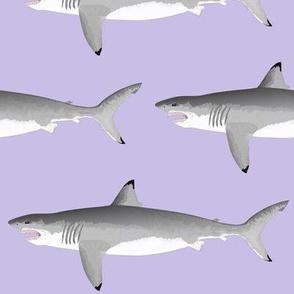 Biting Great White Shark on lavender