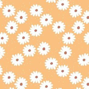 Delicate boho flower white blossom minimal abstract retro daffodil daisy modern rust white honey yellow rust SMALL