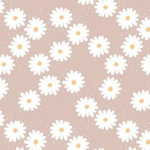 Delicate boho flower white blossom minimal abstract retro daffodil daisy modern latte beige white honey yellow SMALL