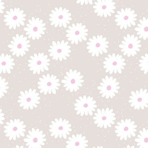 Delicate boho flower white blossom minimal abstract retro daffodil daisy modern soft beige gray pink SMALL