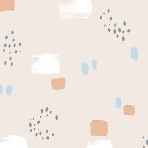 Paint strokes and brush spots dots raw abstract minimal LA Memphis style design boho nursery sand beige blue latte boys