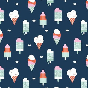 Colorful sweet summer ice cream popsicle sugar cone kids food illustration navy blue mint SMALL