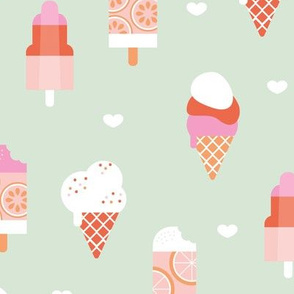 Colorful sweet summer ice cream popsicle sugar cone kids food illustration pink mint peach girls SMALL