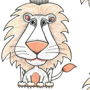 king of beasts line art lion, large scale, white black peach coral orange pink