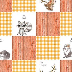 Orange patchwork 6 inch square