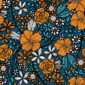 Teal and Orange Blooms (Large Scale)
