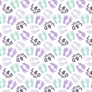 L&D Nurse - multi baby feet - purple/lavender/mint - nursing - LAD20