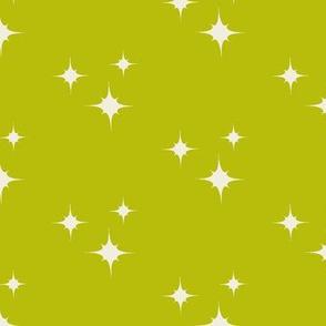 Muslin Stars on Mossy Green