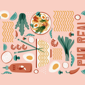 Pho Real - Ramen Noodle Food Typography Tea Towel Blush