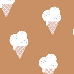 Little ice cream cone and confetti disco dip summer snack kids cinnamon brown neutral LARGE