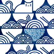 Cat Noodle -  Navy and White Cute Cats- Kawaii Ramen Pets- Novelty Pet