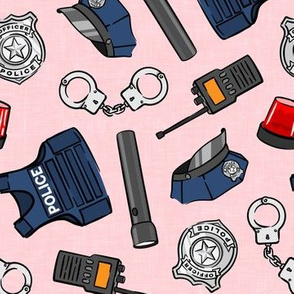 police equipment - pink - police themed - badge, cuffs, hat, police department - LAD20