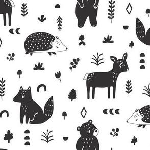 scandi animals // black and white