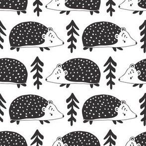 scandi hedgehogs // black and white