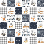 3 inch Woodland//Navy - Wholecloth Cheater Quilt - Rotated