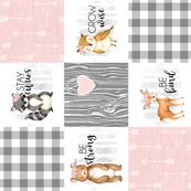 Woodland//Pink - Wholecloth Cheater Quilt - Rotated