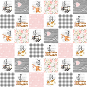 3 inch Woodland//Pink - Wholecloth Cheater Quilt - Rotated