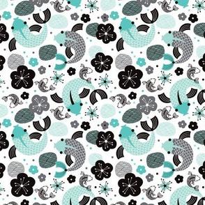 Koi Carp japanese fish illustration asian pattern print in blue SMALL