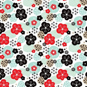 Japan cherry blossom flowers for print mint red SMALL