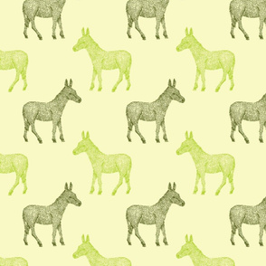 Green hand drawn donkeys