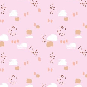 Paint strokes and brush spots dots raw abstract minimal LA Memphis style design boho nursery pink latte beige white girls SMALL